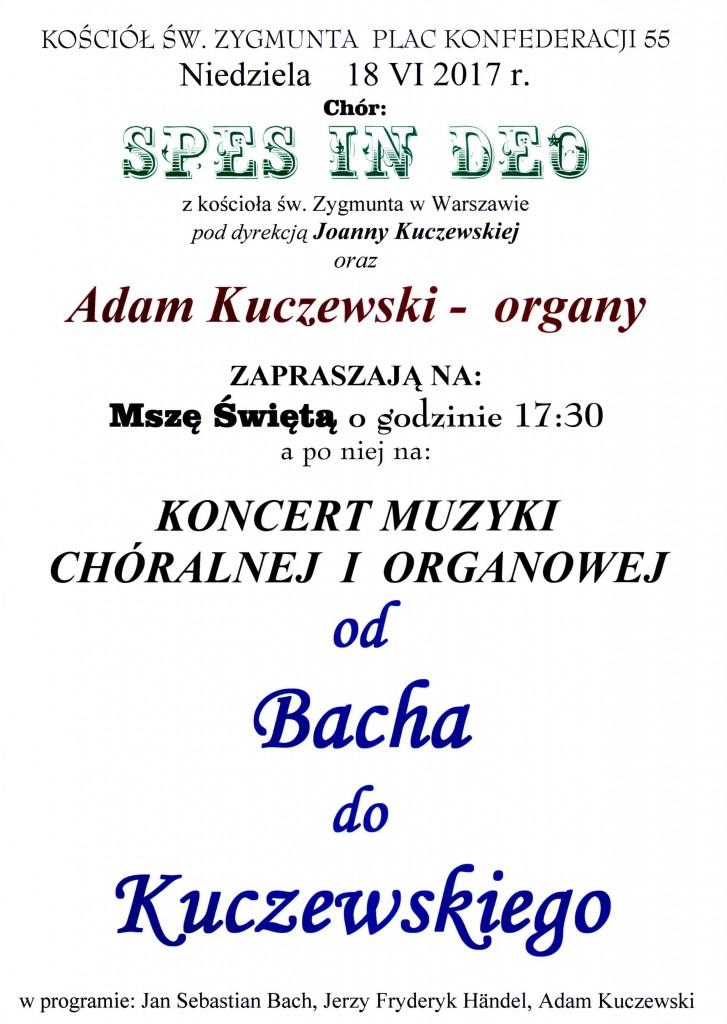 Plakat na Koncert od Bacha do Kuczewskiego 18.06.2017