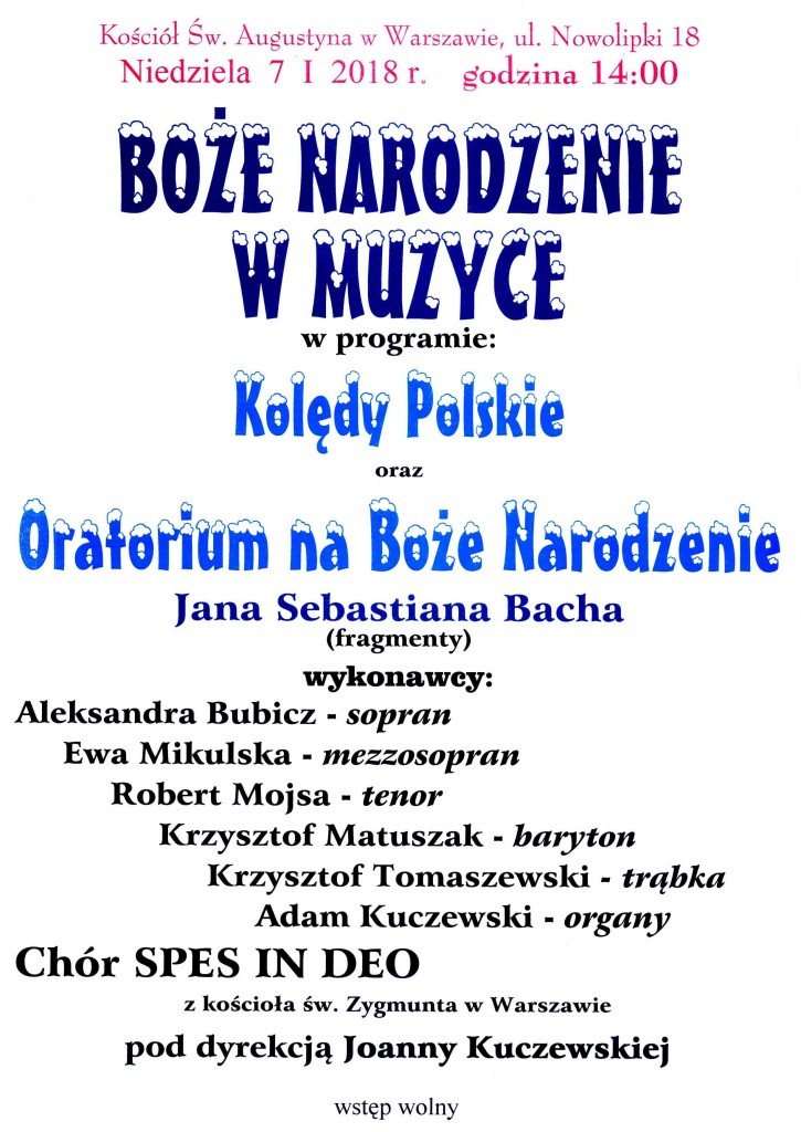 Plakat na Koncert Kolędowy św.Augustyn - 7.01.2018
