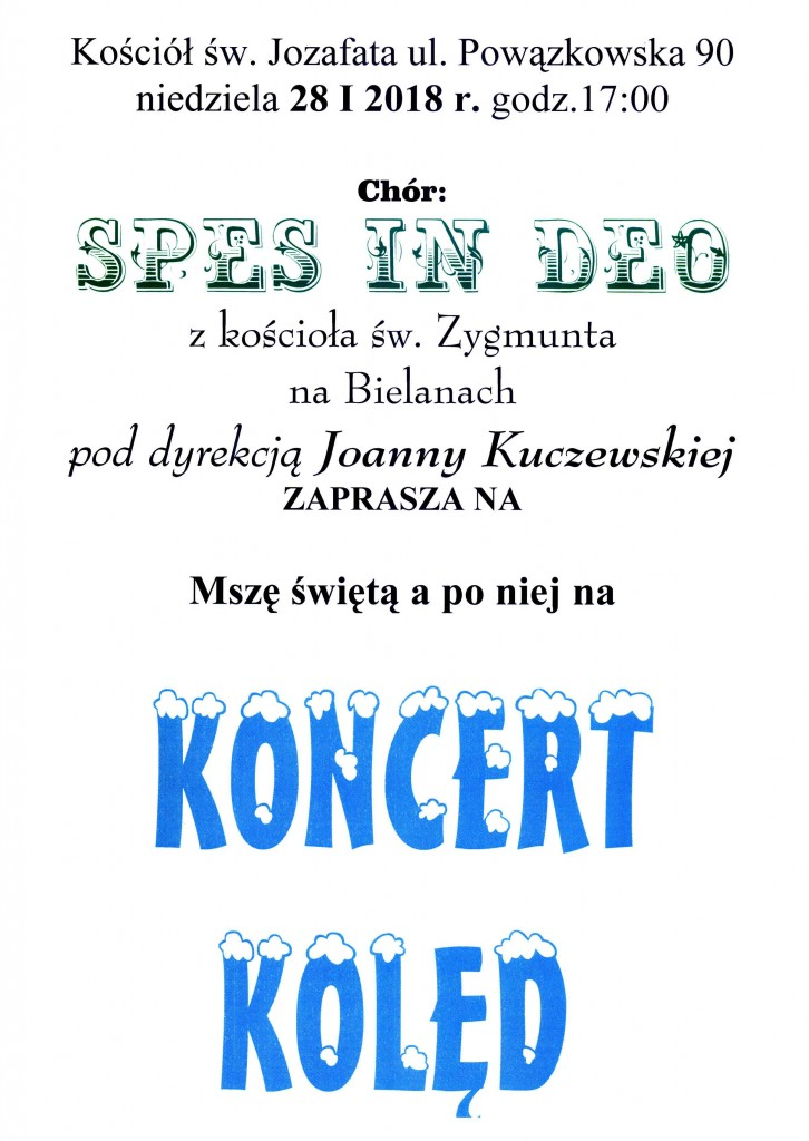 Plakat na Koncert Kolędowy św.Jozafat - 28.01.2018
