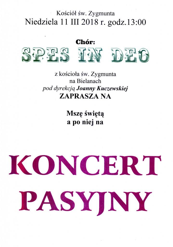 Plakat na Koncert Pasyjny - św. Zygmunt-11.03.2018